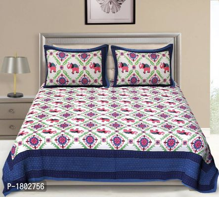 120 TC Rajasthani Traditional Double Bedsheet With 2 Pillow Cover