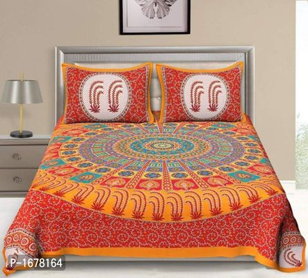 Cotton Rajasthani Jaipuri Traditional Print Double Bedsheet with 2 Pillow Cover
