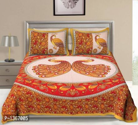 Classic 144 TC Cotton Double Bedsheet With 2 Pillow Covers.