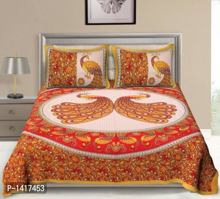 Rajasthani Traditional double bed sheet with 2 pillow cover.
