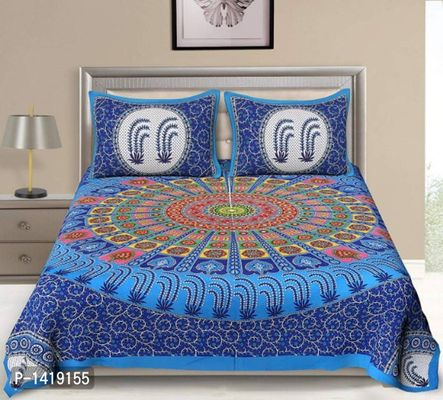 Classic 144 TC Rajasthani Traditional Double Bedsheet With 2 Pillow Cover
