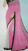 Half and Half White brasso and pink georgette saree with black blouse