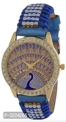Blue Synthetic Strap Watch For Women