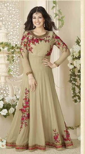 Partywear Designer Embroidery Chickoo Georgette Salwar Suit