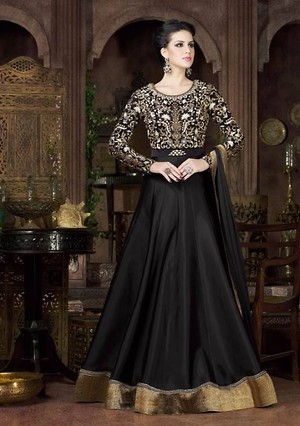 Black Colour Tapeta Silk Party Wear Embroidered Work Anarkali Suit