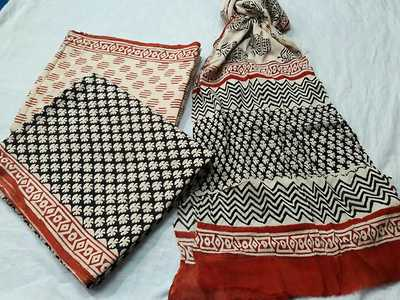 block printed cotton suits with chiffon printed duppata