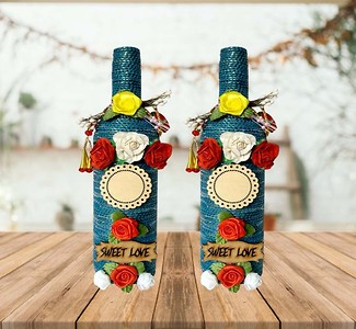 Handcrafted Decorative bottles for Home Decor - set of 2