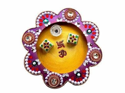 Decorated Wooden Pooja Thali for all spiritual occasions