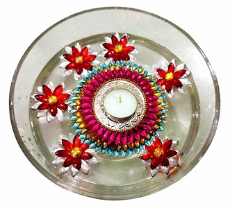 Floating Kundan Diyas - Set of 6 flowers and 1 big floating diya