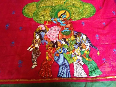 Hand painted pattachithra painting with full border painted