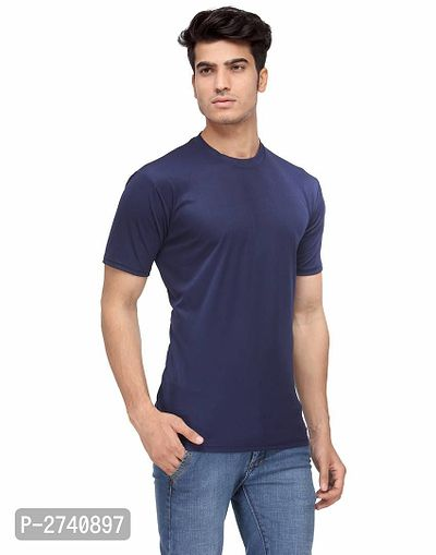 Men's Navy Blue Solid Polyester Round Neck T-Shirt