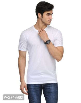 Men's White Solid Polyester Round Neck T-Shirt
