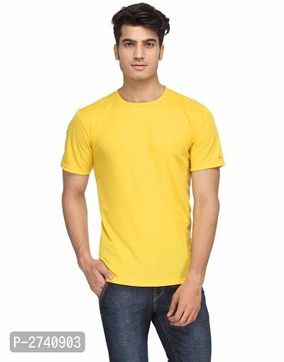 Men's Yellow Solid Polyester Round Neck T-Shirt