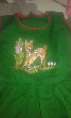 Green hand painted frock