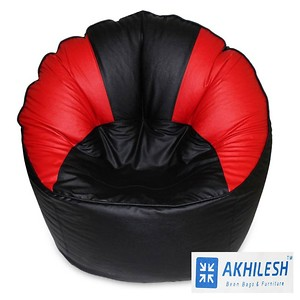 Akhilesh bean bags & furniture mudda chair cover without beans black red