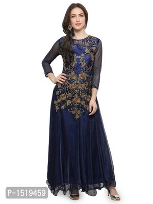 Blue Embroidered Cotton Spandex Gown