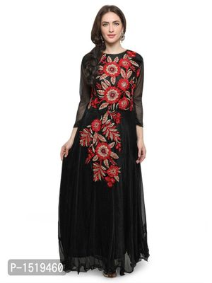 Black Embroidered Cotton Spandex Gown