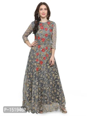 Grey Embroidered Cotton Spandex Gown