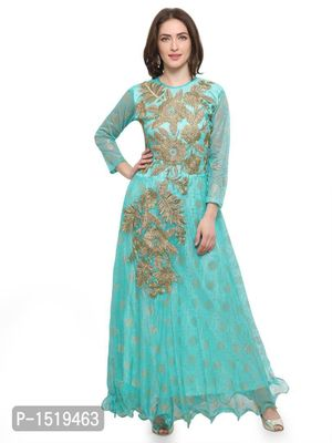 Green Embroidered Cotton Spandex Gown