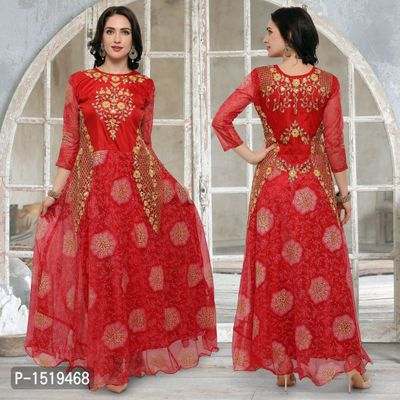 Red Embroidered Cotton Spandex Gown