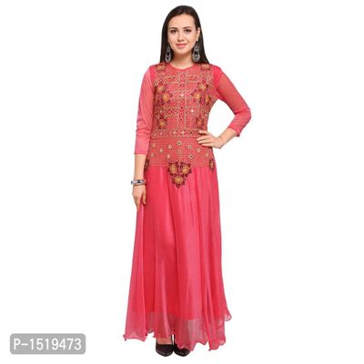 Pink Embroidered Cotton Spandex Gown