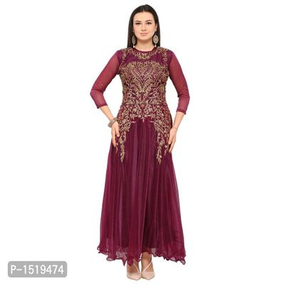 Purple Embroidered Cotton Spandex Gown