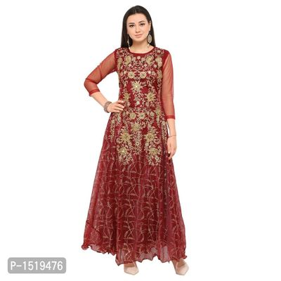Maroon Embroidered Cotton Spandex Gown