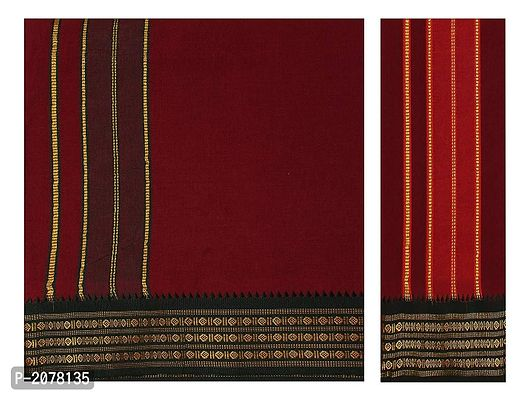 Cool Cotton 4mts Dhoti with Towel Maroon