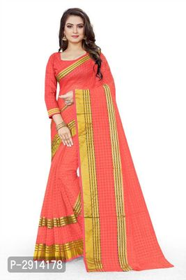 Peach Checked Net Saree with Blouse piece