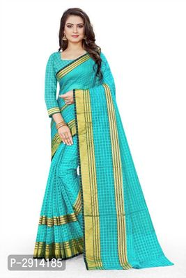 Blue Checked Net Saree with Blouse piece