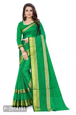 Green Checked Net Saree with Blouse piece