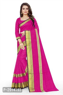 Pink Checked Net Saree with Blouse piece