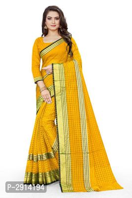 Yellow Checked Net Saree with Blouse piece