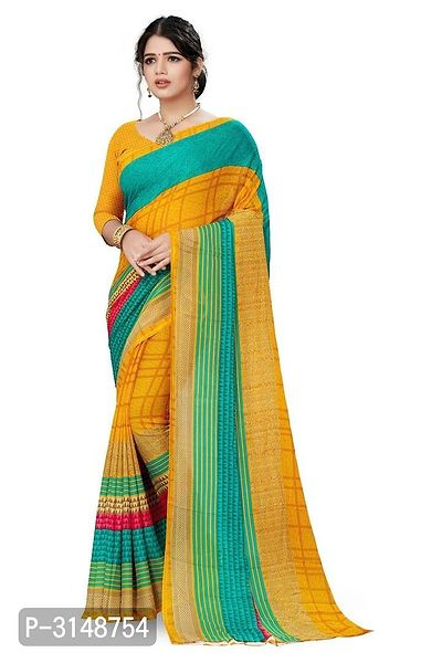 Printed Daily Wear Poly Georgette Saree With Blouse Piece