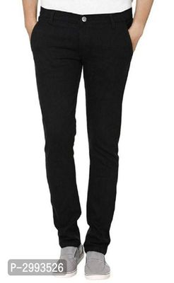 Men's Black  Cotton Solid Regular Fit Mid-Rise Jeans