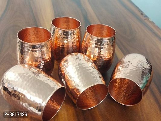 Health Mechanic Copper Glass Tumbler, Hammer Design, Drinkware, 300 ML Each, Set of 6 Pieces