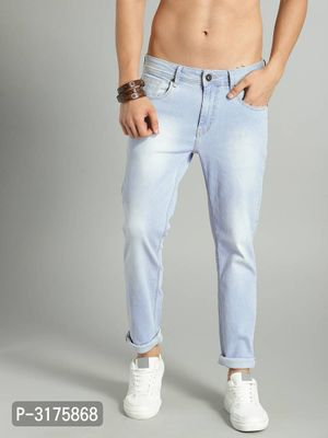 Men's Blue  Denim Faded Regular Fit Mid-Rise Jeans