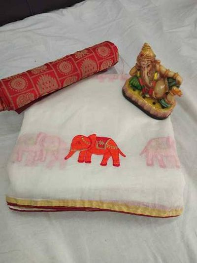Heavy Chanderi With Embroidery Work