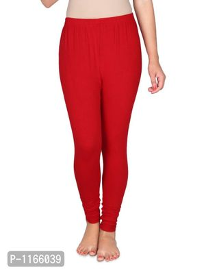Red  Solid Womens Cotton Legging
