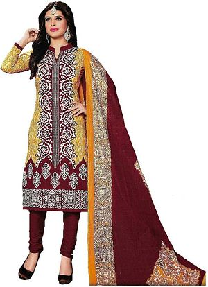 Cotton Printed Bhatik Design Yellow & Maroon Dress Material (SS1))