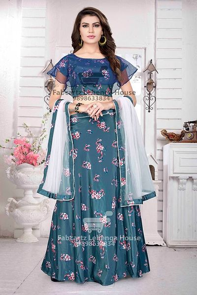 Blue Embroidered Semi-Stitched Lahenga Choli