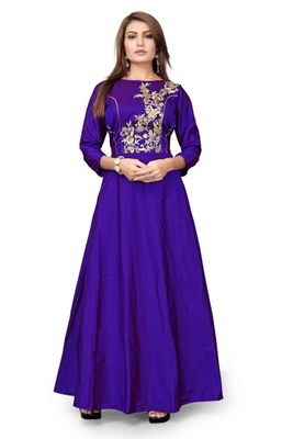 Blue Embroidered Tapetta Silk Ethinic Gown