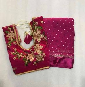 Georgette pearl work satin border saree with readymade blouse