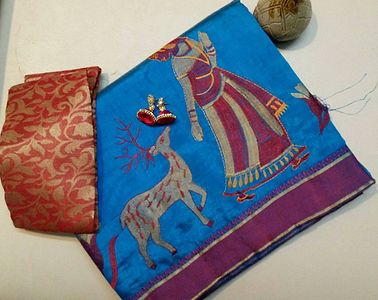 tussar Saree with deer lady embroidery