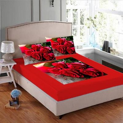 VELVET DIGITAL PRINT BEDSHEET WITH TWO PILLOW COVER