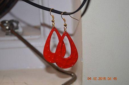 red eye drop earrings