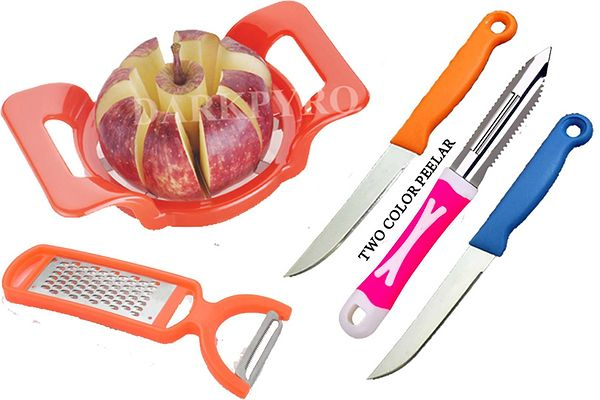 combo of apple cutter 2 in 1 grater and peeler and 3 pcs knife and peeler set