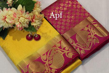 😍You can look your absolute best in our mango border Saree is perfect for any special occasion😍 Dupion Tussar silk with mango border, Contrast  blouse   Jhumka 60 extra