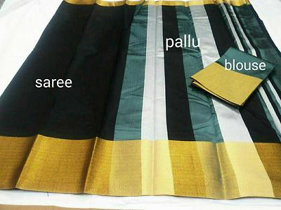 ​Mahalakshmi sarees​  sellers broadcast message  Raw silk sarees, Contrast blouse    Tsw