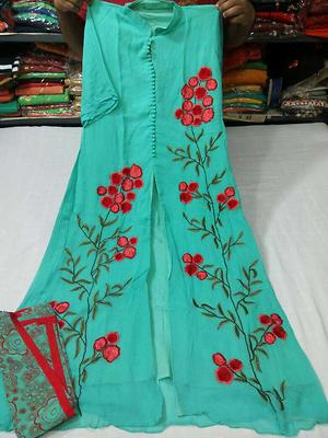 chk avblity n pay   pure gorgette kurti with inner attached thread machine embroidery with printed dupatta size 40  Atc